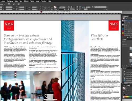 Vi gör ny broschyr till NMK företagsmäklare