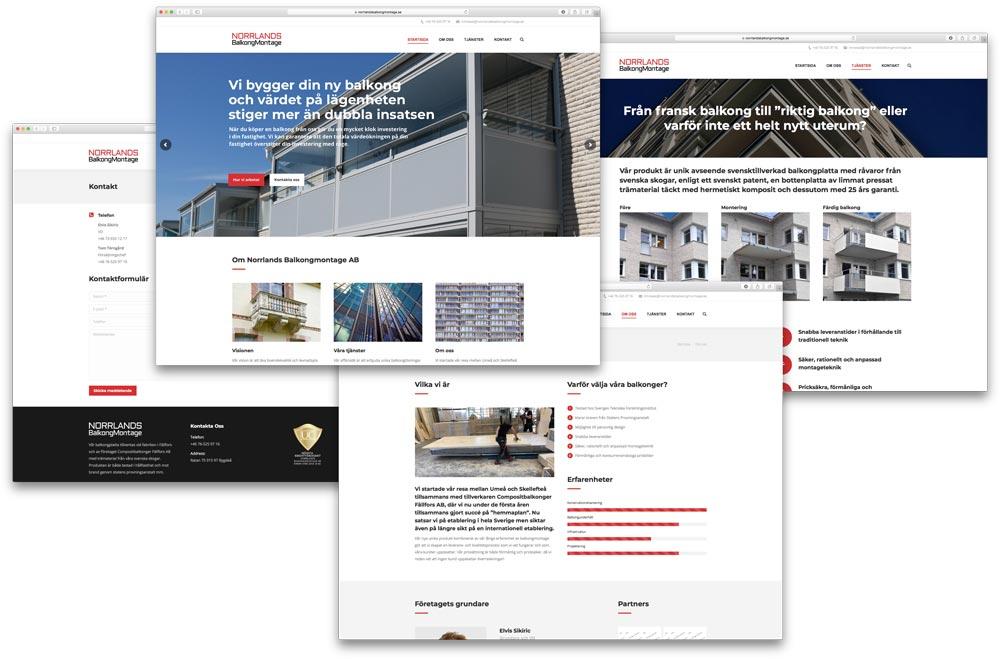 Norrlands Balkongmontage AB Webbplats